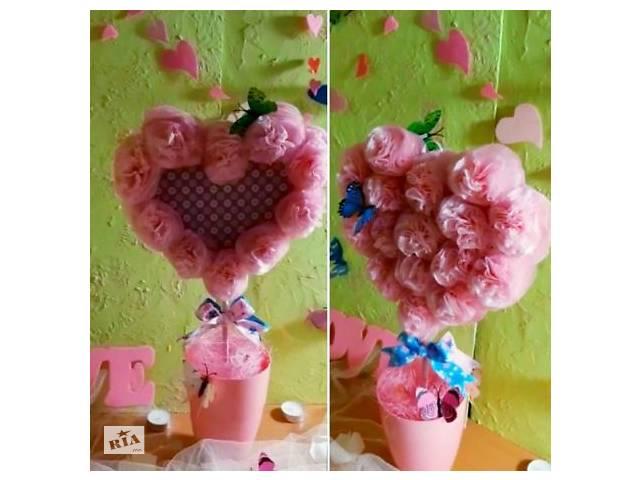 купить бу Подарок на день влюбленных топиарий сердце цветы букет розы фото рамка в Днепре (Днепропетровск)
