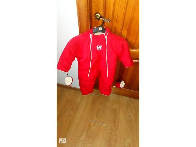 купить бу Продам детский зимний комбинезон красного цвета с капюшоном и перчатками в Тернополе
