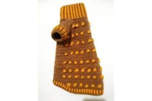 Коричневий з жовтими візерунками плюшевий светр для собачок і кішок Ручне в'язання