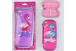 Школьный раскладной пенал с фламинго для девочки