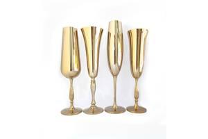 Свадебные бокалы Bohemia, серебро, золото, перламутр
