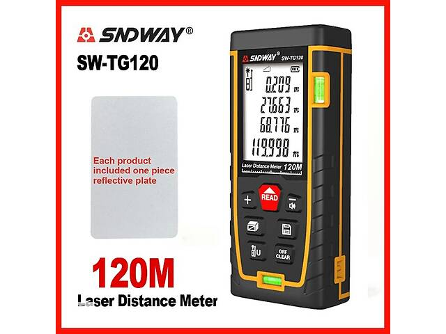 купить бу Лазерная рулетка дальномер SNDWAY SW-TG120 (120 метров) 50 70 100 120м в Луцке