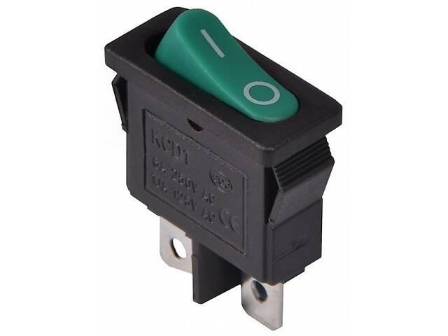 Переключатель KCD1-101-12, ON-OFF, 6А (2pin), 250V, зелёный