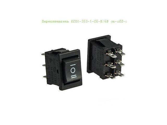 Переключатель KCD1-203-1 (MRS-203) , 6pin , 6A,250V ;   черный
