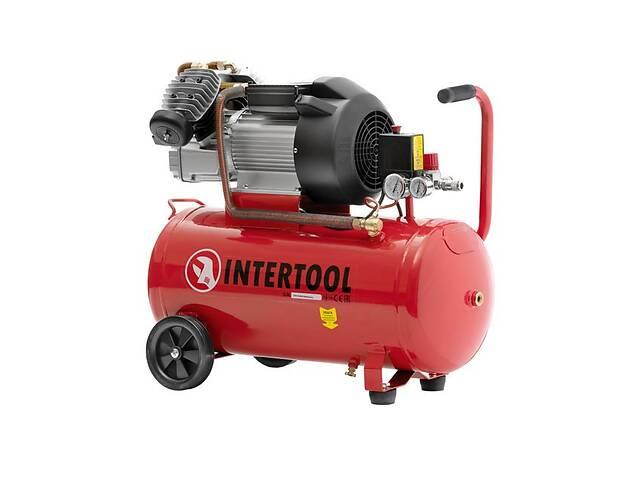 Воздушный компрессор для СТО 100 л, 3 кВт, 220 В, 8 атм, 420 л/мин, 2 цилиндра INTERTOOL PT-0008