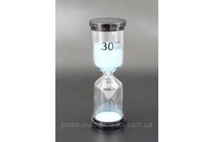 """9290187 Песочные часы """"Круг"""" стекло + пластик 30 минут Голубой песок"""