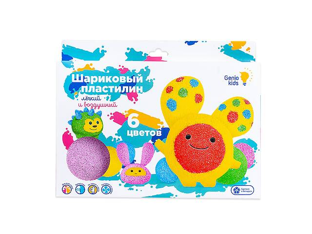 купить бу Детский игровой набор Шариковый пластилин для лепки Genio Kids, 6 цветов в Киеве