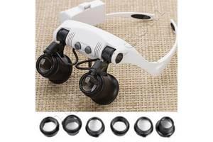 Лупа-очки бинокулярные 9892GJ-3A (10x/15x/20x/25x) c LED подсветкой