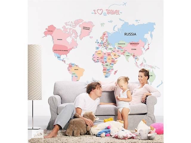 купить бу Політична карта світу наклейка на стіну шпалери в Києві
