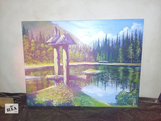 художник картина на Озеро Синевир Закарпатье размер-80. 60 маслясний красный.- объявление о продаже  в Межгорье (Закарпатской обл.)