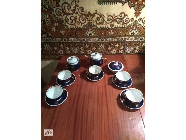 Чайный сервиз кобальт с позолотой времен СССР