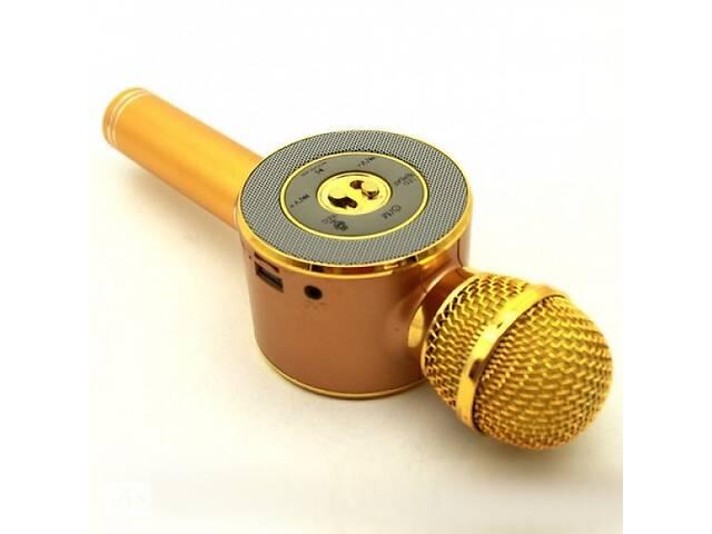 купить бу Детский беспроводной аккумуляторный караоке микрофон Wster с колонкой Bluetooth 24 см Золотой (WS-668) в Одессе