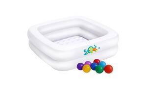 Детский надувной бассейн Bestway 51116-1, белый, 86 х 86 х 25 см, с шариками 10 шт (hub_7odh7z)