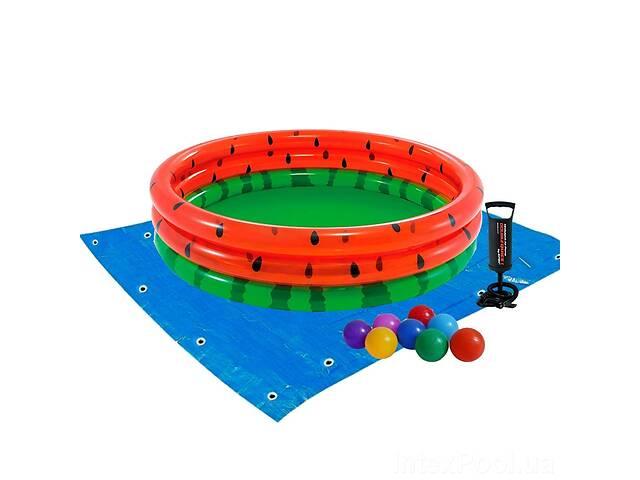 купить бу Детский надувной бассейн Intex 58448-2 «Арбуз», 168 х 38 см, с шариками 10 шт, подстилкой, насосом (hub_8og3o7) в Киеве