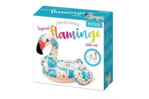 Детский надувной плотик для купания Intex Фламинго 142x137x97см, двухкамерный, для детей от 3 лет