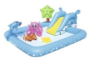Вместительный, детский, надувной центр бассейн Bestway 53052 «Аквариум» с игрушками (239*206*86 см)