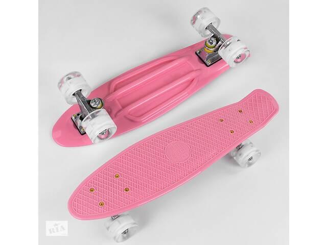продам Детский скейт 2708 Best Board Пенни борд со светящимися колесами, декой из прочного пластика, розовый бу в Львове