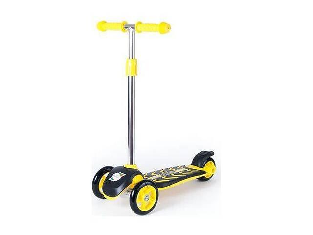 купить бу Детский трехколесный самокат ORION с ножным тормозом для детей от 3 лет, до 40 кг,желтый в Киеве