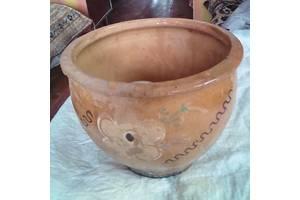 Горшок глиняный антиквариат ручная работа. Опошня.