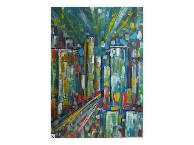 Картина А3 на плотной бумаге Ночной город Гуашь- объявление о продаже  в Запорожье