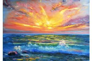 картина пейзаж маслом цветы море