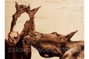 Кони (Пирография) 400 х 400мм