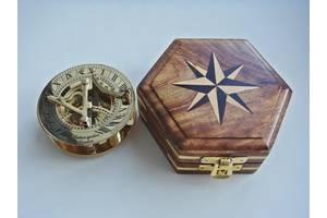 Латунный компас с солнечными часами Hatton garden London. Новый. Копия