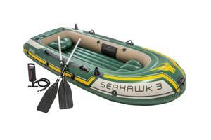 Лодка надувная трехместная Intex 68380 Seahawk 3 Set с веслами и с насосом 295х137х43 см