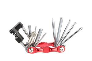 Мультитул KEN TECH KL-9835S красный 11 функций: шестигранники, отвёртки, выжимка цепи