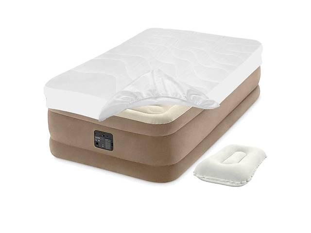продам Надувная кровать Intex 64426-3, 99 х 191 х 46 см, встроенный электронасос, наматрасник, подушка. Односпальная бу в Киеве