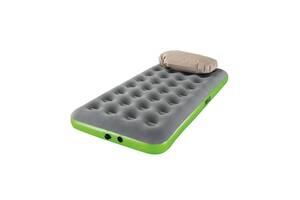 Надувная односпальная велюр-кровать Bestway 67619 BW 188х99х22см подушка насос Серо-зеленый (bint_67619)