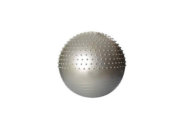 Надувной гимнастический мяч для фитнеса (фитбол) полумассажный PROFI BALL, диаметр - 65 см., серый