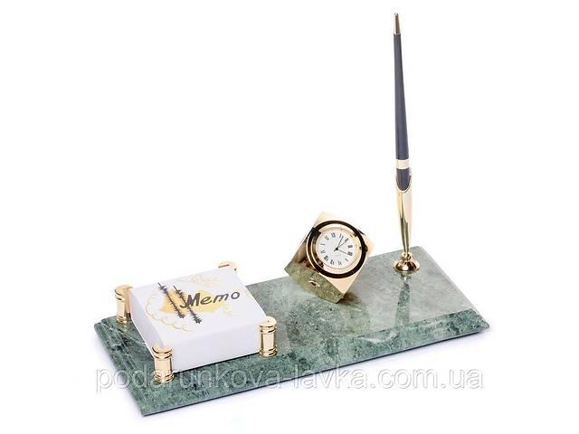 Настольная подставка BST 540070 24х12 с часами мраморная для ручки и с фиксатором для бумаг- объявление о продаже  в Киеве