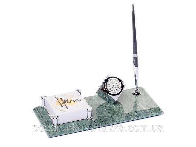 бу Настольная подставка на стол руководителя BST 540054 24х10 с часами ручкой и фиксатором для бумаг в Киеве
