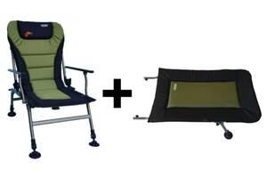 Походное кресло Novator SR-2 Comfort с подставкой зеленое