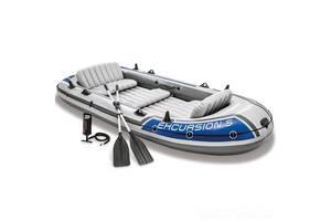Пятиместная надувная лодка Intex 68325 (366x168x43 см) Excursion 5 Set Алюм. весла и ручной насос (int_68325)