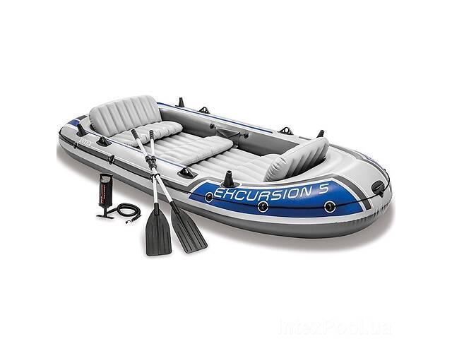 Пятиместная надувная лодка Intex 68325 (366x168x43 см) Excursion 5 Set Алюм. весла и ручной насос (int_68325)- объявление о продаже  в Києві