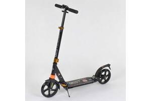 Самокат алюминиевый Best Scooter c PU колесами и 2 аммортизаторами Black/Orange (85029)