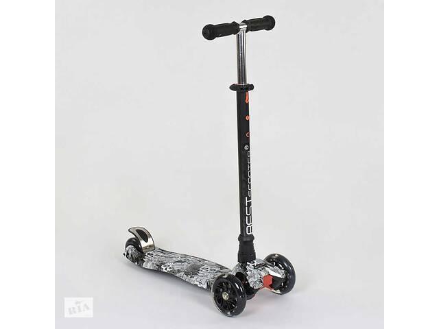 купить бу Самокат дитячий пластмасовий з алюмінієвої трубкою керма + 4 колеса Black (74514) в Одесі