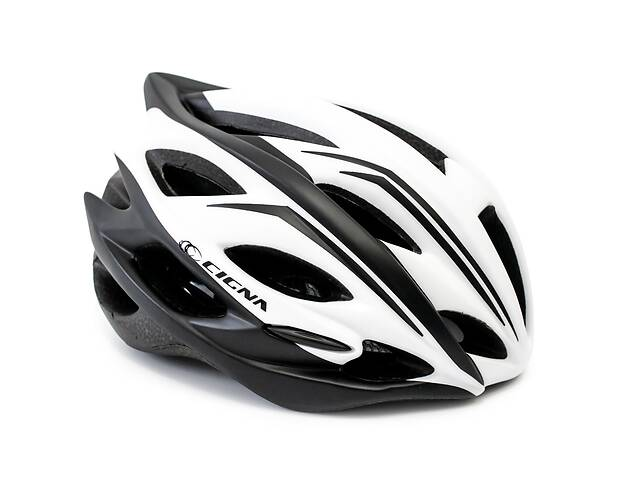 Шлем велосипедный с козырьком CIGNA WT-015 белый с черным