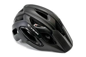 Шлем велосипедный с козырьком с габаритным фонарем LED CIGNA WT-088 черный