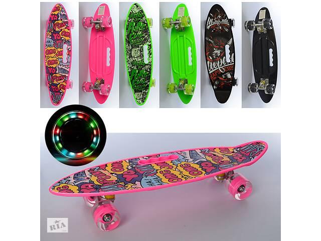 купить бу Скейтборд MS 0461-5 пенни борд со светящимися полиуретановыми колесами, с антискользящей поверхностью (3 вида) в Одессе