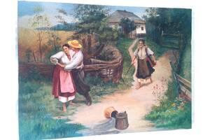Старинная картина в стиле украинского колорита