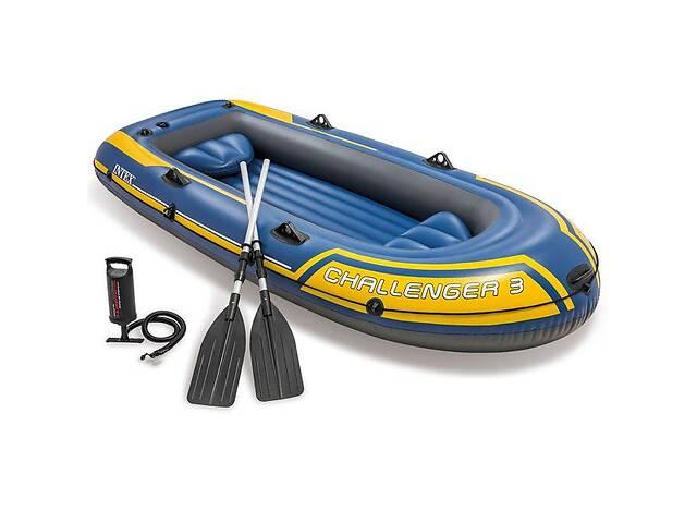 продам Трехместная надувная лодка Intex 68370 295 х 137 х 43 см Challenger 3 Set алюминиевые весла и ручной насос (bint_68370) бу в Києві