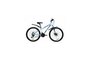 """Велосипед горный (спортивный) 26"""" Discovery Trek AM Vbr 2020 рама 13"""" бело-черный с синим на рост 135-160 см"""