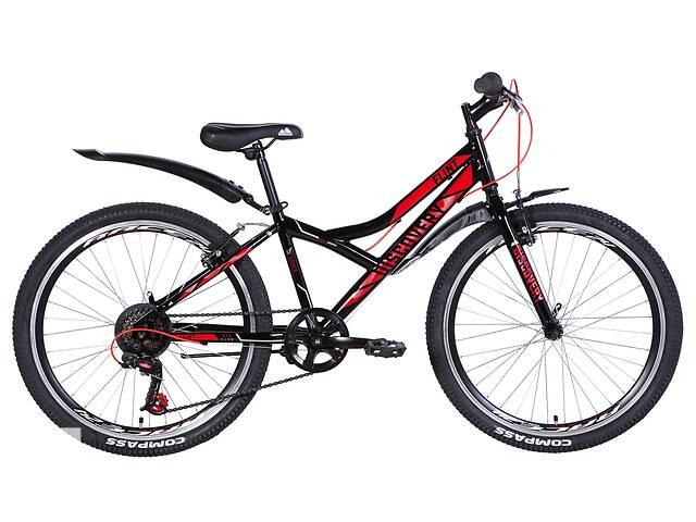 Велосипед ST 24Discovery FLINT Vbr рама 13 з крилом, Чорний / червоний (OPS-DIS-24-225)- объявление о продаже  в Киеве