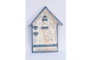 Ключница на стену Домик с маяком BST 30x24 см на 3 крючка 530384