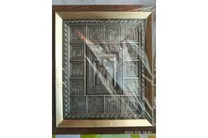 Икона Святителя Николая с житием 22х25,5 см серебрение