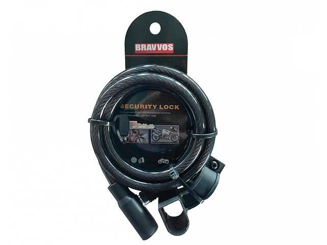 купить бу Замок BRAVVOS LOC-045-055 на ключе со стальным тросом 10mmх1500mm черн. в Києві