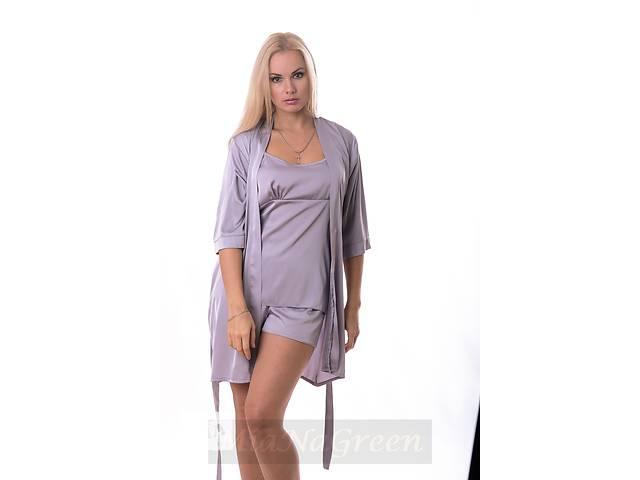 Комплект светло серый пижама-халат, К09п- объявление о продаже  в Харькове